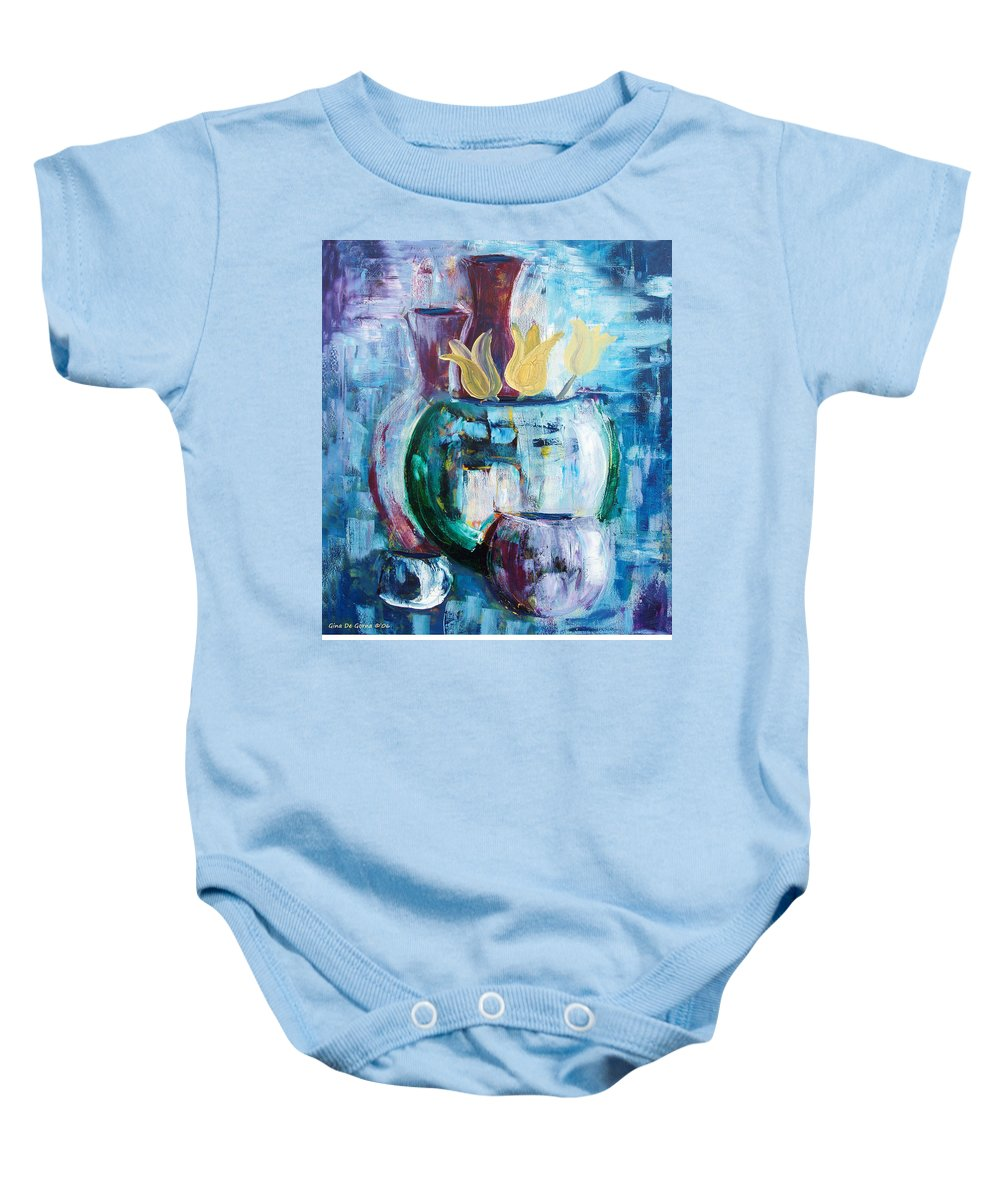 Still Baby Onesie featuring the painting Still Life With Yellow Tulips by Gina De Gorna