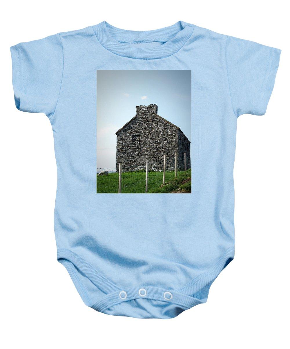 Irish Baby Onesie featuring the photograph Stone Building Maam Ireland by Teresa Mucha