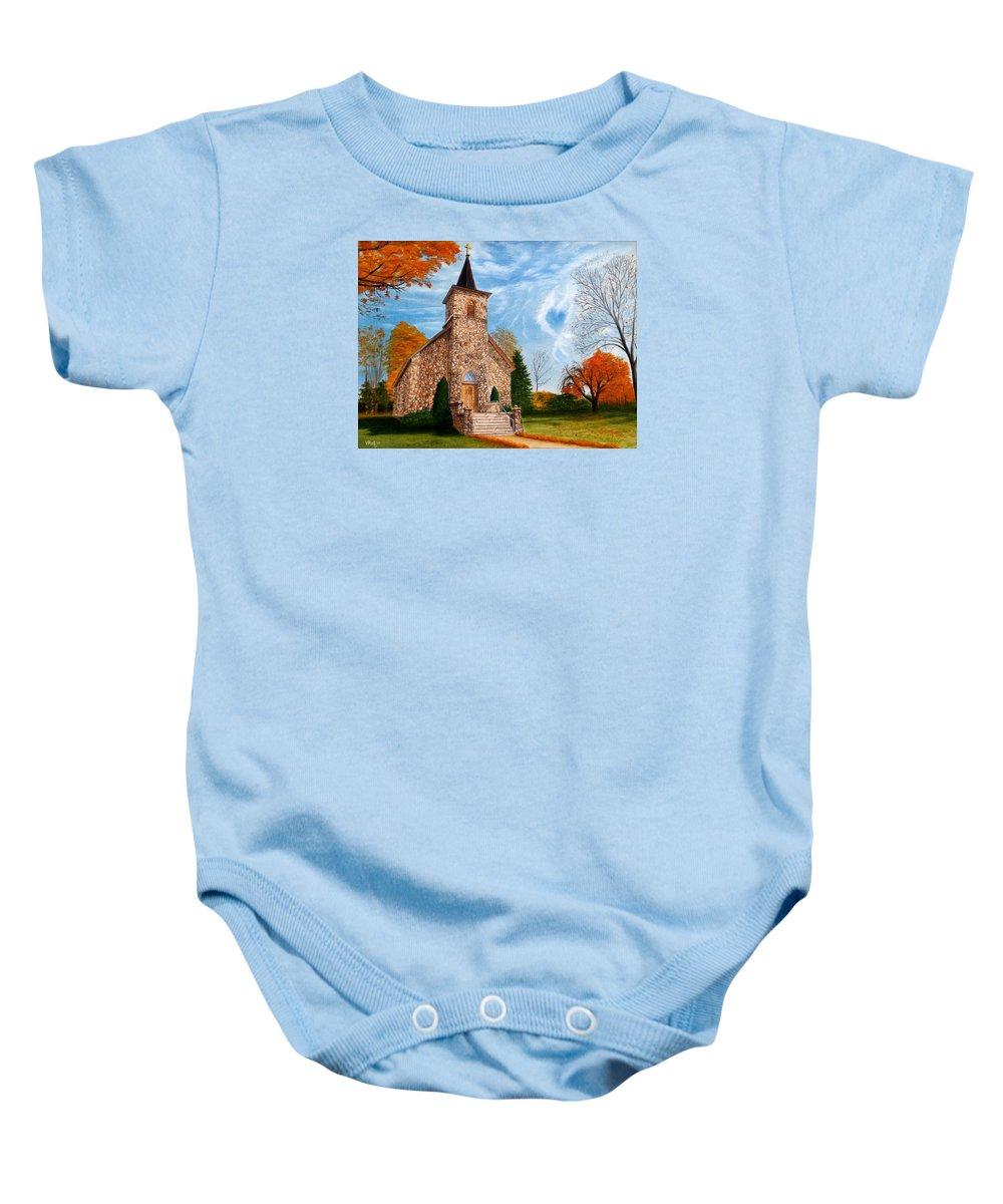 Peaceful Baby Onesie featuring the painting Stone Church by Vicky Path