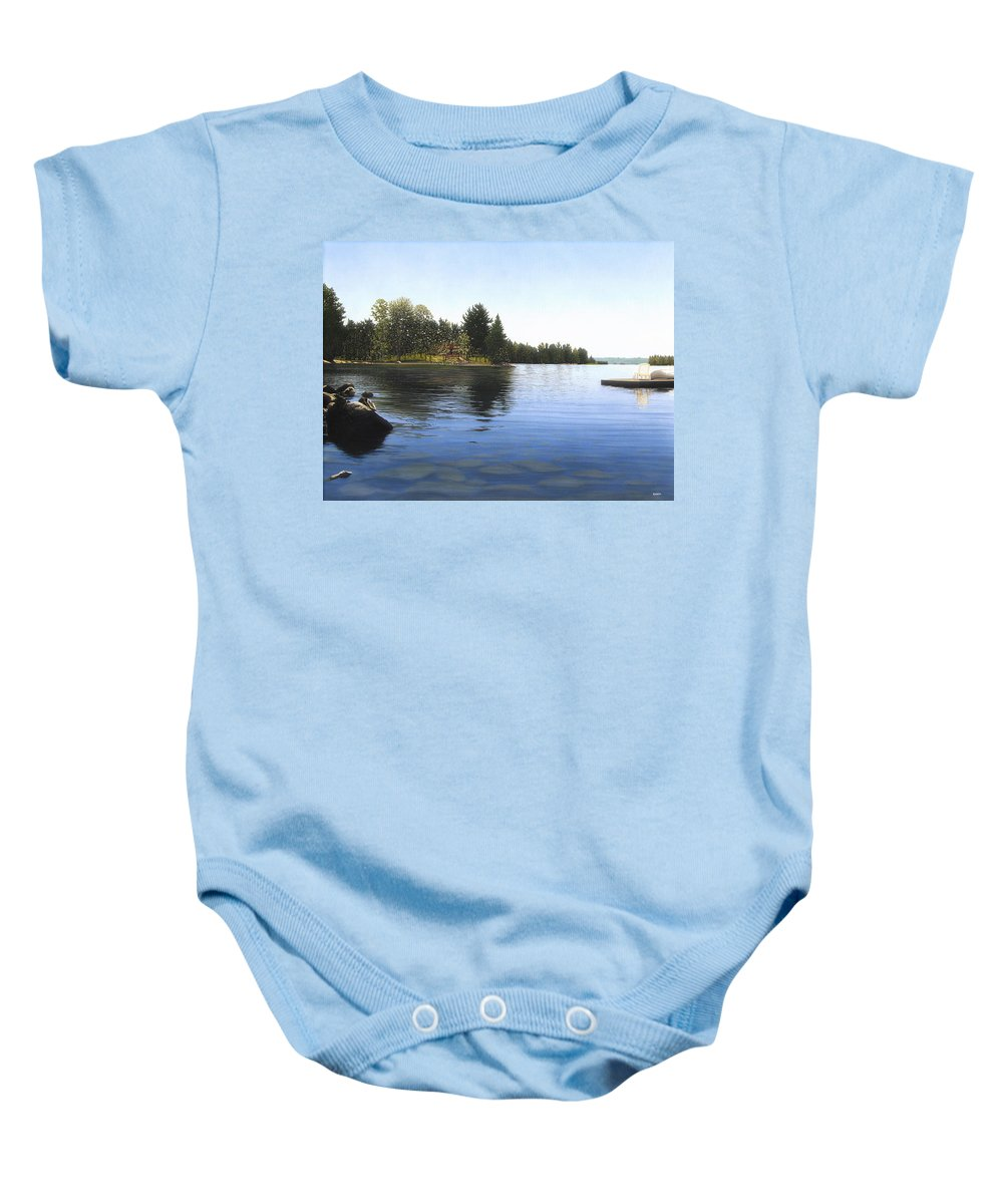 Landscapes Baby Onesie featuring the painting Stoney Lake by Kenneth M Kirsch