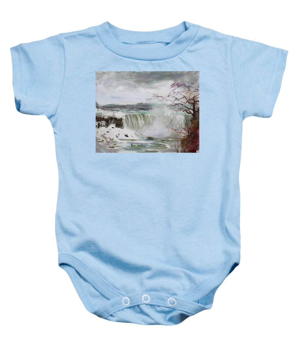 Landscape Baby Onesie featuring the painting Storm In Niagara Falls by Ylli Haruni