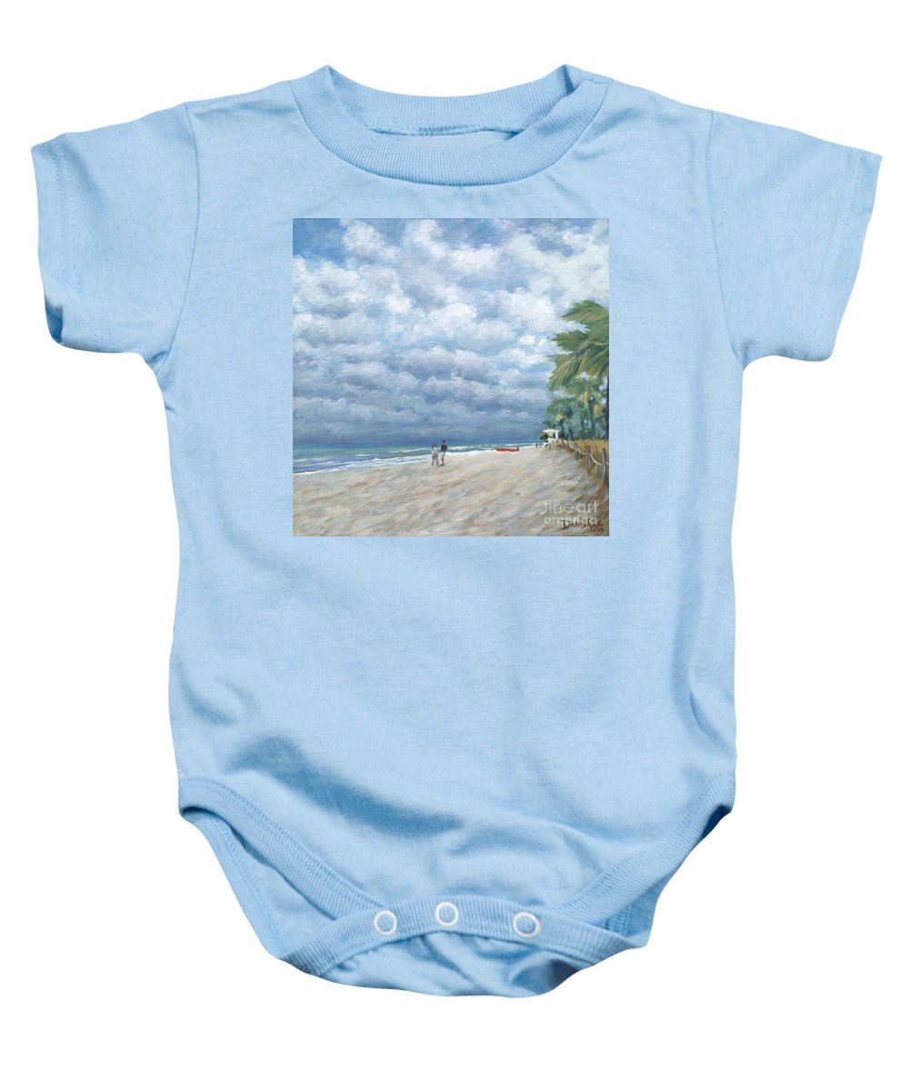 Fort Lauderdale Baby Onesie featuring the painting Storm On The Horizon by Danielle Perry