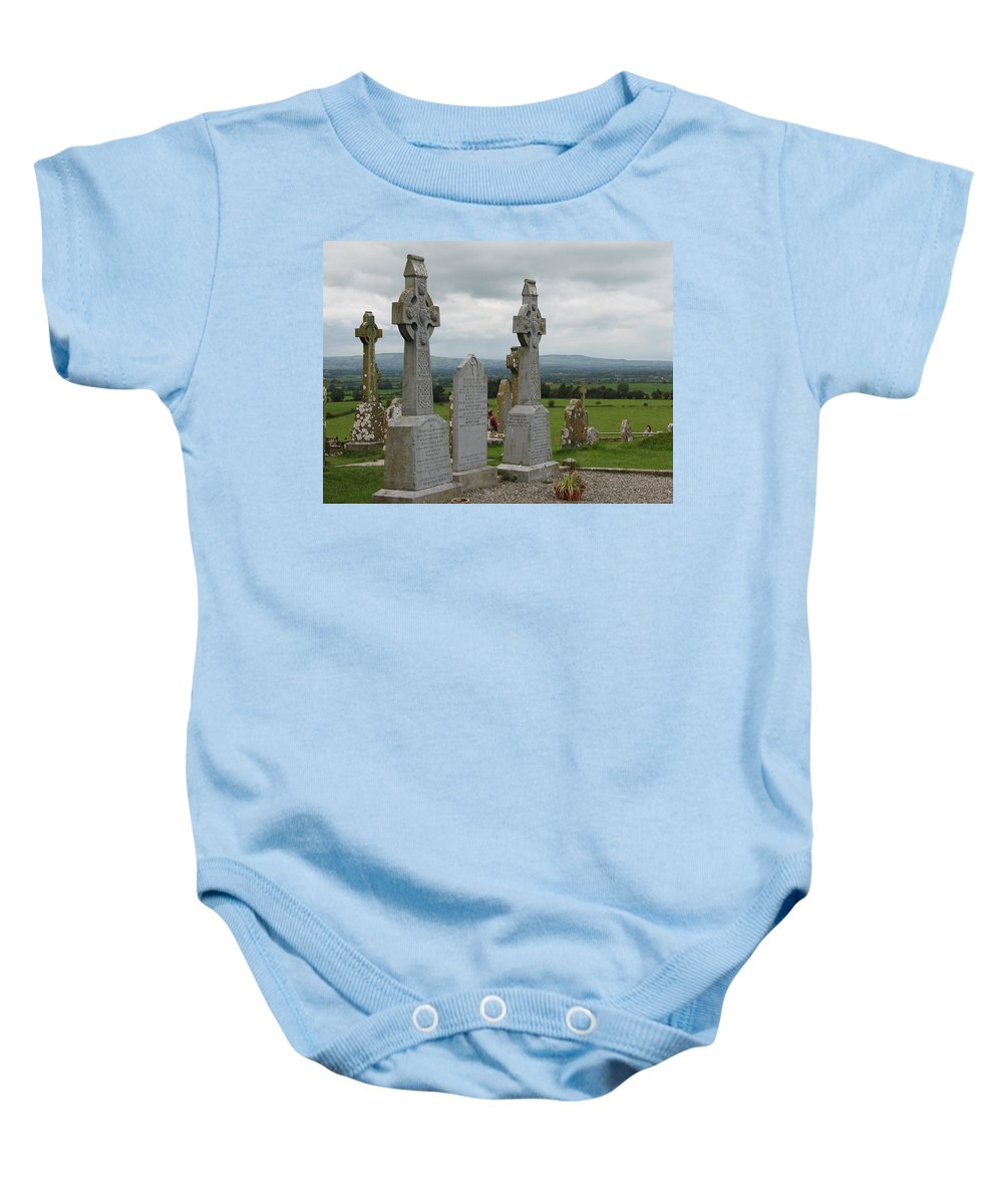 Celtic Cross Baby Onesie featuring the photograph Storms Comming by Kelly Mezzapelle
