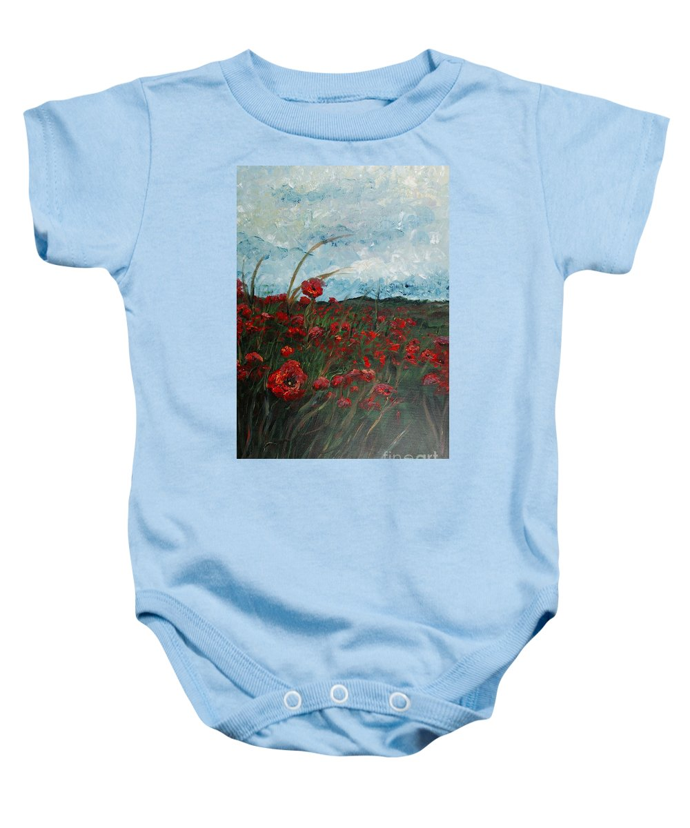 Poppies Baby Onesie featuring the painting Stormy Poppies by Nadine Rippelmeyer