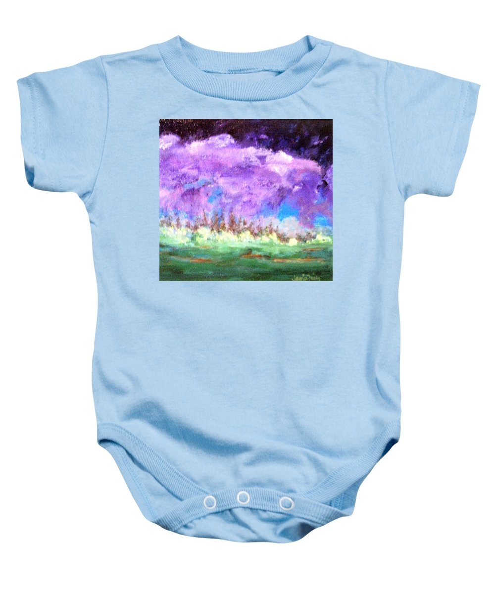 Abstract Baby Onesie featuring the painting Stormy Sky by Jamie Frier