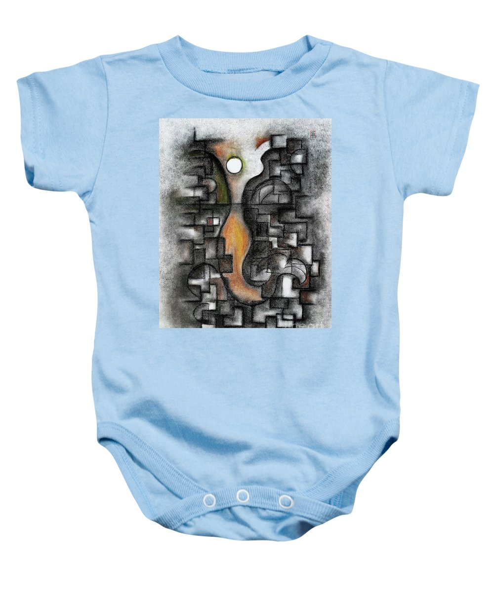 Abstract Baby Onesie featuring the pastel Stratified Breeze by Fei A