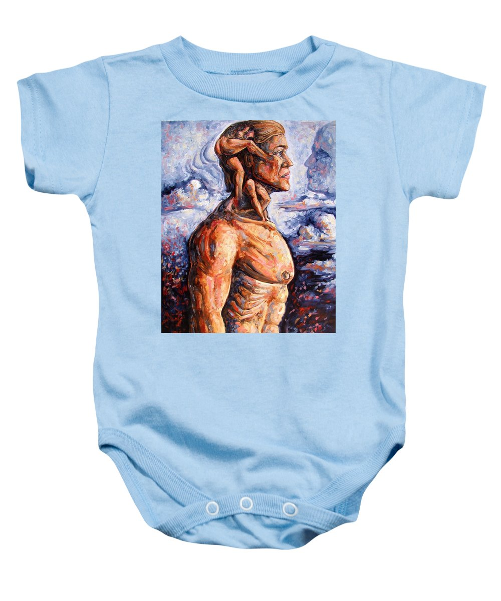 Surrealism Baby Onesie featuring the painting Stuck On You In My Unconscious Paradise by Darwin Leon