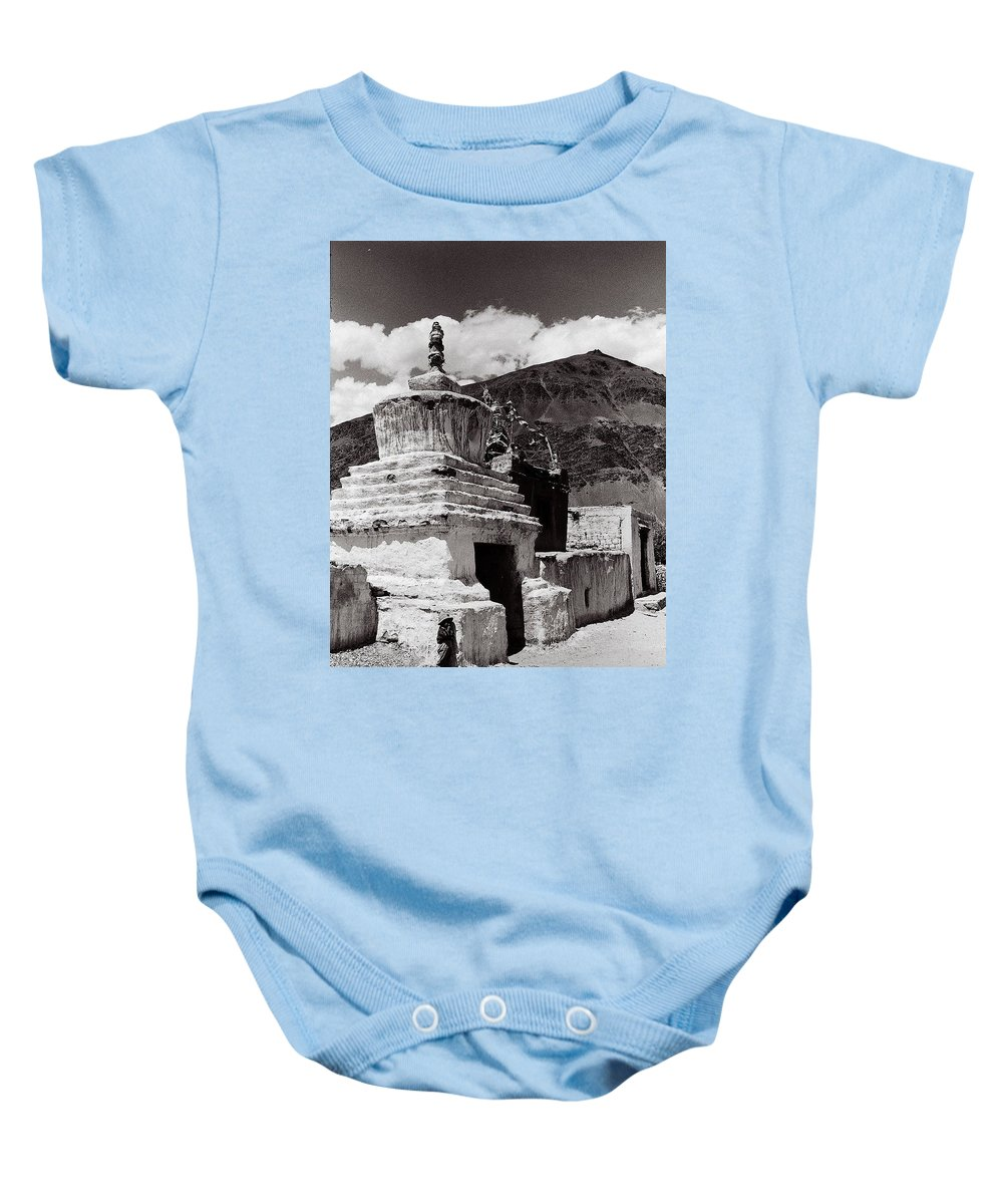A Boy And A Stupa. Baby Onesie featuring the photograph Stupa by Topjor Tenzin