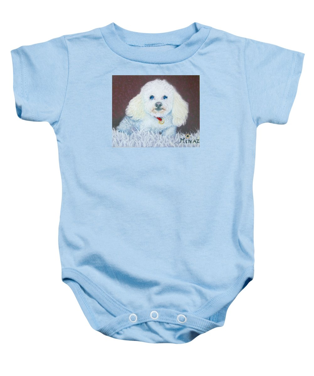 Dog Baby Onesie featuring the painting Such A Charm by Minaz Jantz