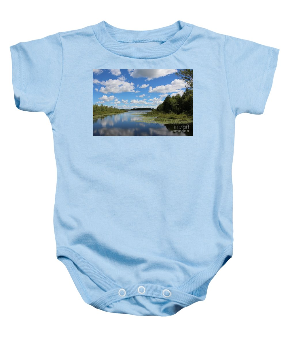 Summer Baby Onesie featuring the photograph Summer Cloud Reflections On Little Indian Pond In Saint Albans Maine by Colleen Snow
