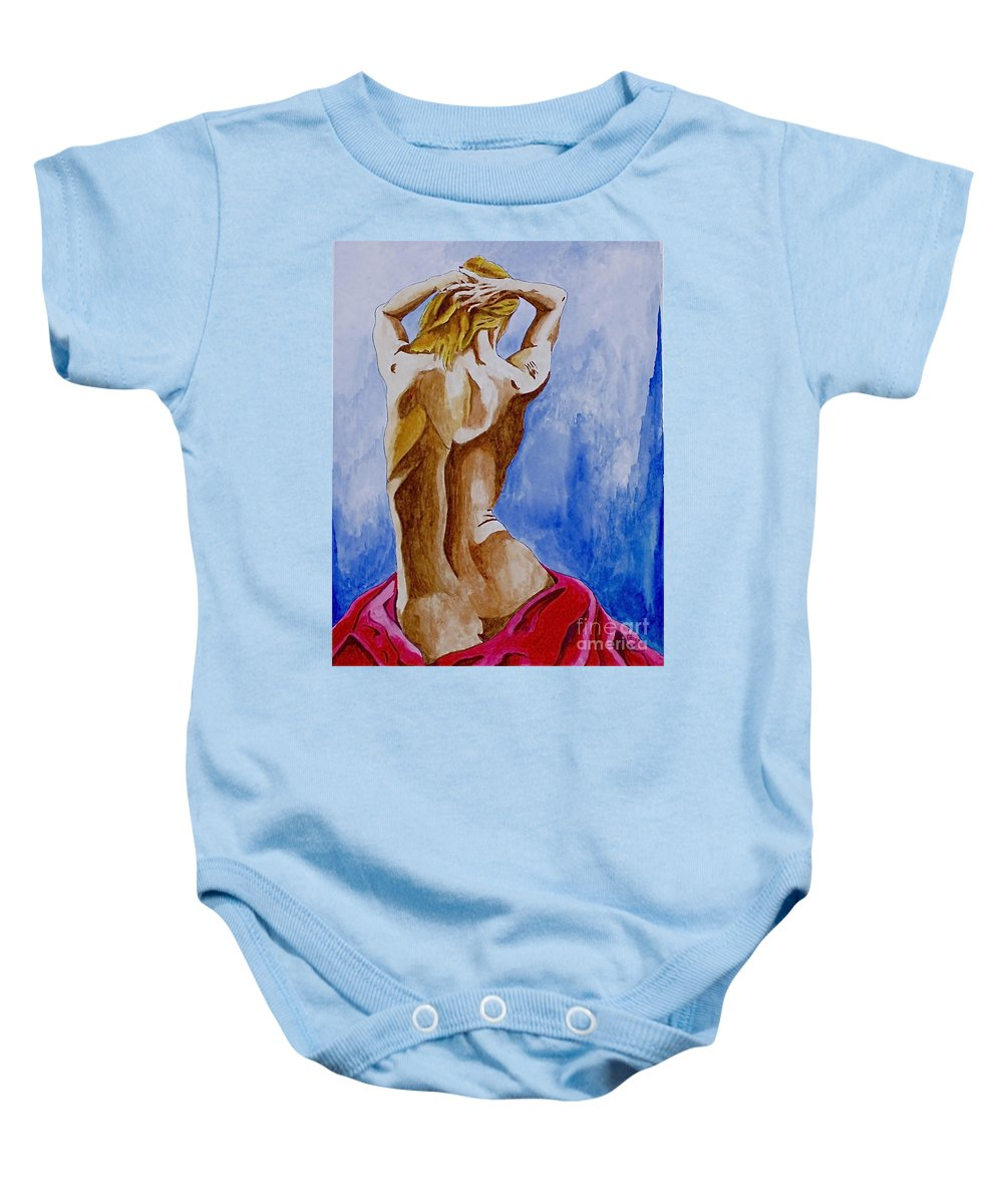 Nude By Herschel Fall Very Hot Nude Baby Onesie featuring the painting Summer Morning by Herschel Fall