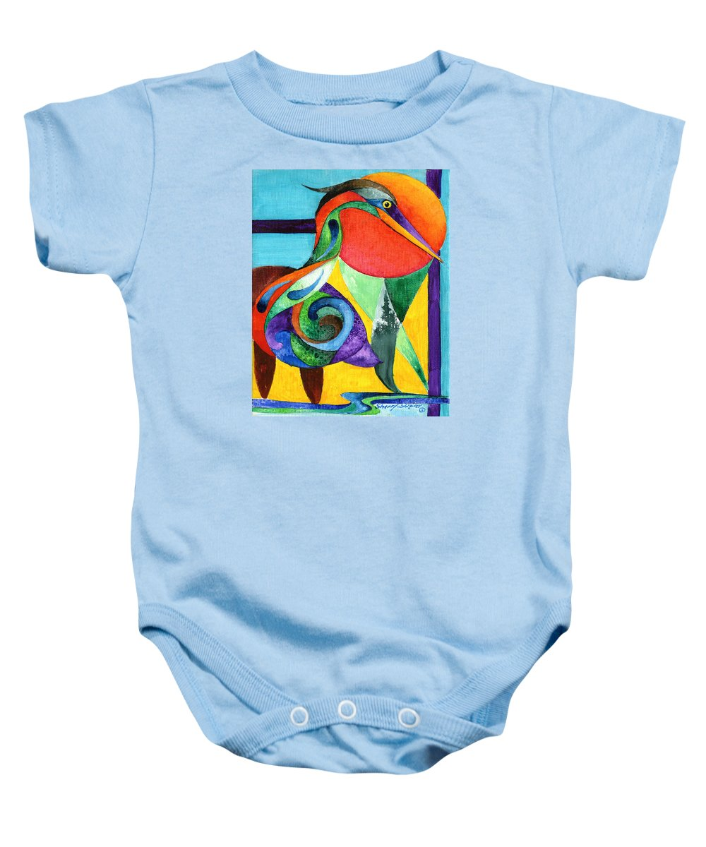 Heron Baby Onesie featuring the painting Sun Bird by Sherry Shipley