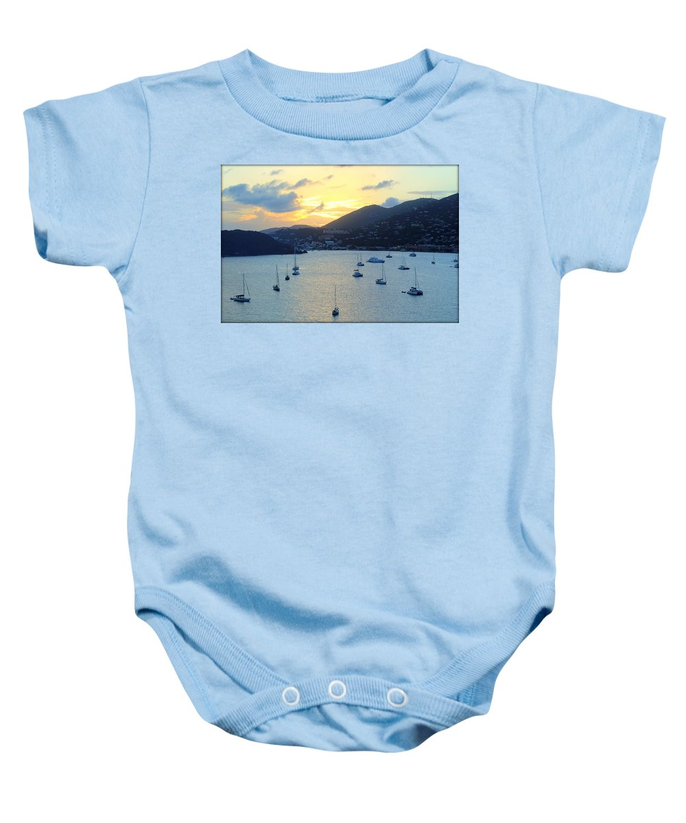 Sunset Baby Onesie featuring the photograph Sun Had Set In St. Thomas by Anita Hiltz