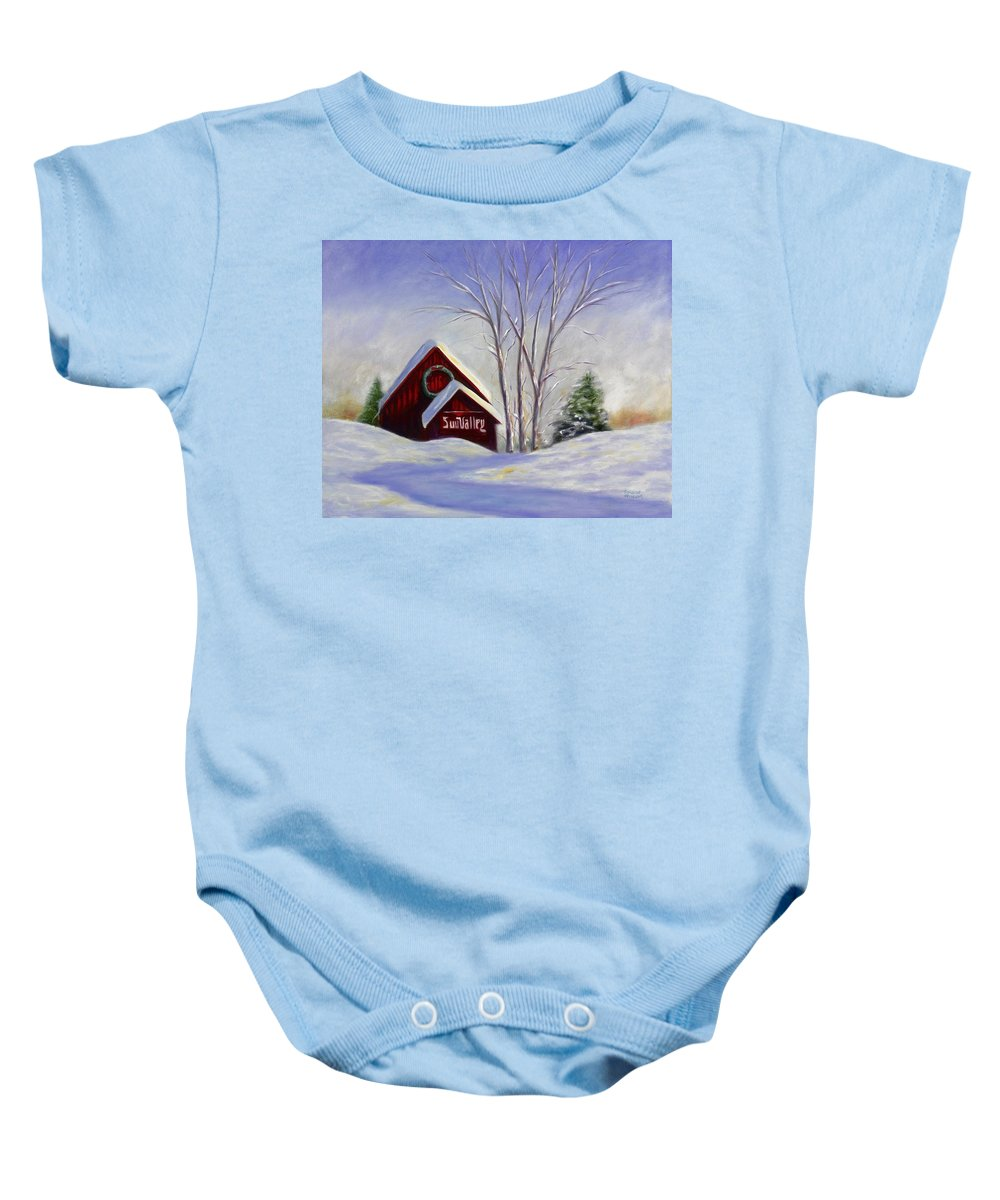 Landscape White Baby Onesie featuring the painting Sun Valley 1 by Shannon Grissom