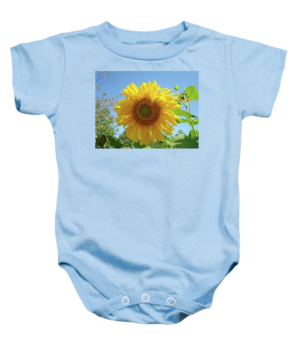 Sunflower Baby Onesie featuring the photograph Sunflower Art Prints Sun Flower 2 Giclee Prints Baslee Troutman by Baslee Troutman