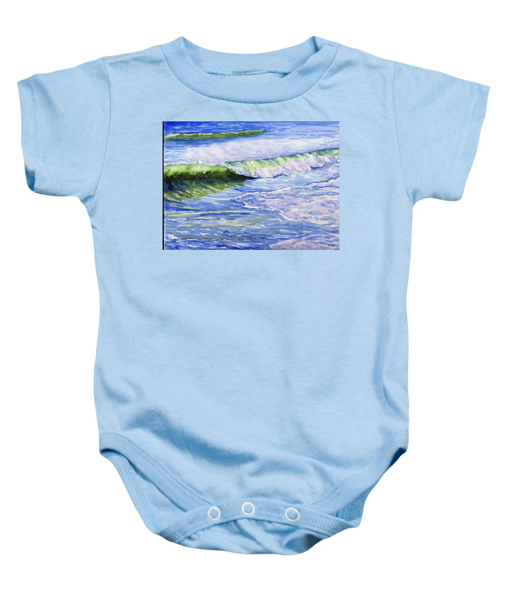 Seascape Baby Onesie featuring the painting Sunlit Surf by Sharon E Allen