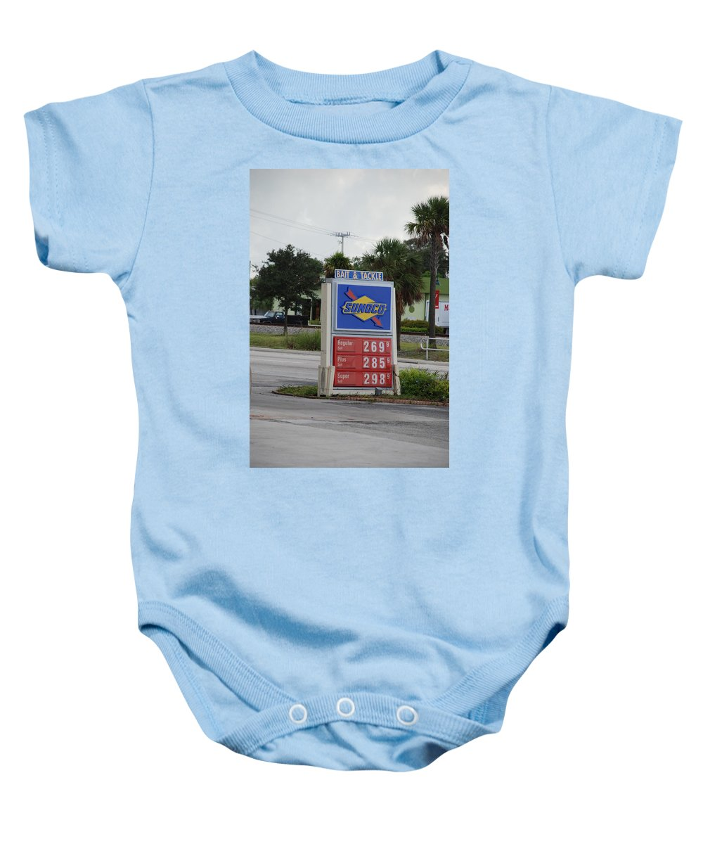 Gas Station Baby Onesie featuring the photograph Sunoco Bait And Tackle by Rob Hans