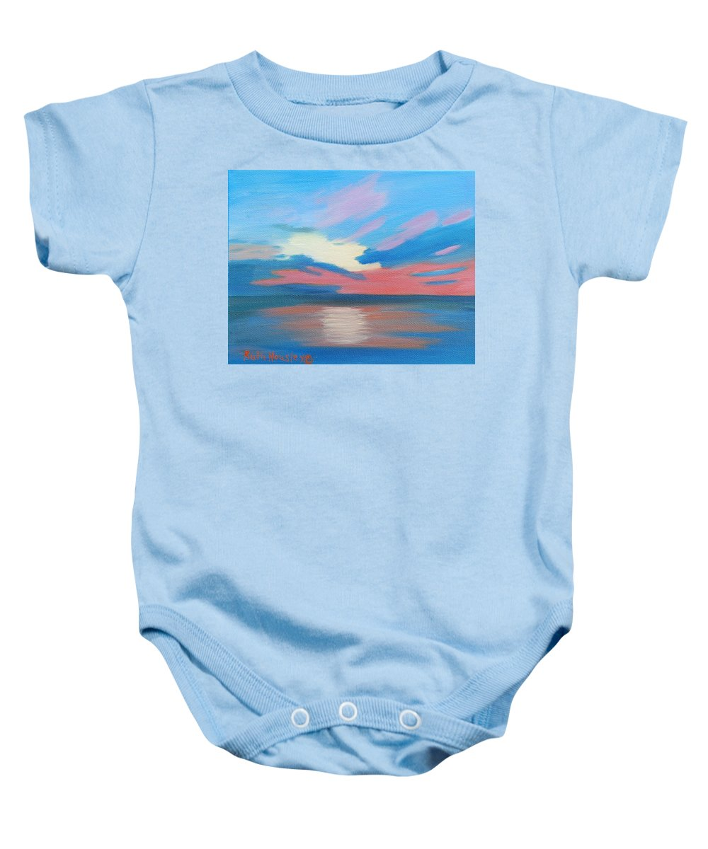Fine Art Baby Onesie featuring the painting Sunrise Over Ocean City Maryland by Ruth Housley