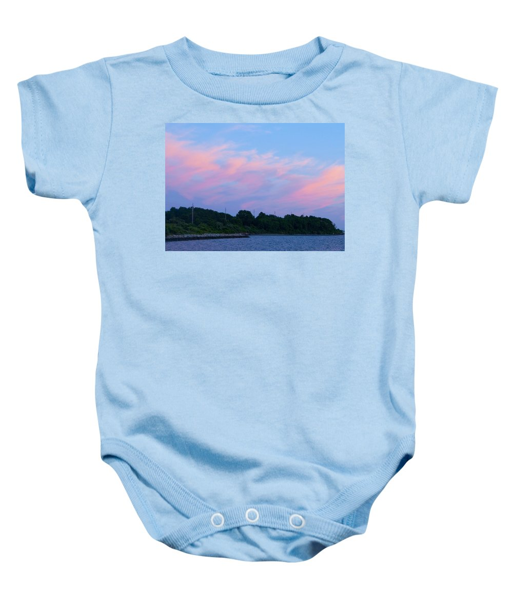 Sunset Baby Onesie featuring the photograph Sunset Aquidneck Island by Steven Natanson