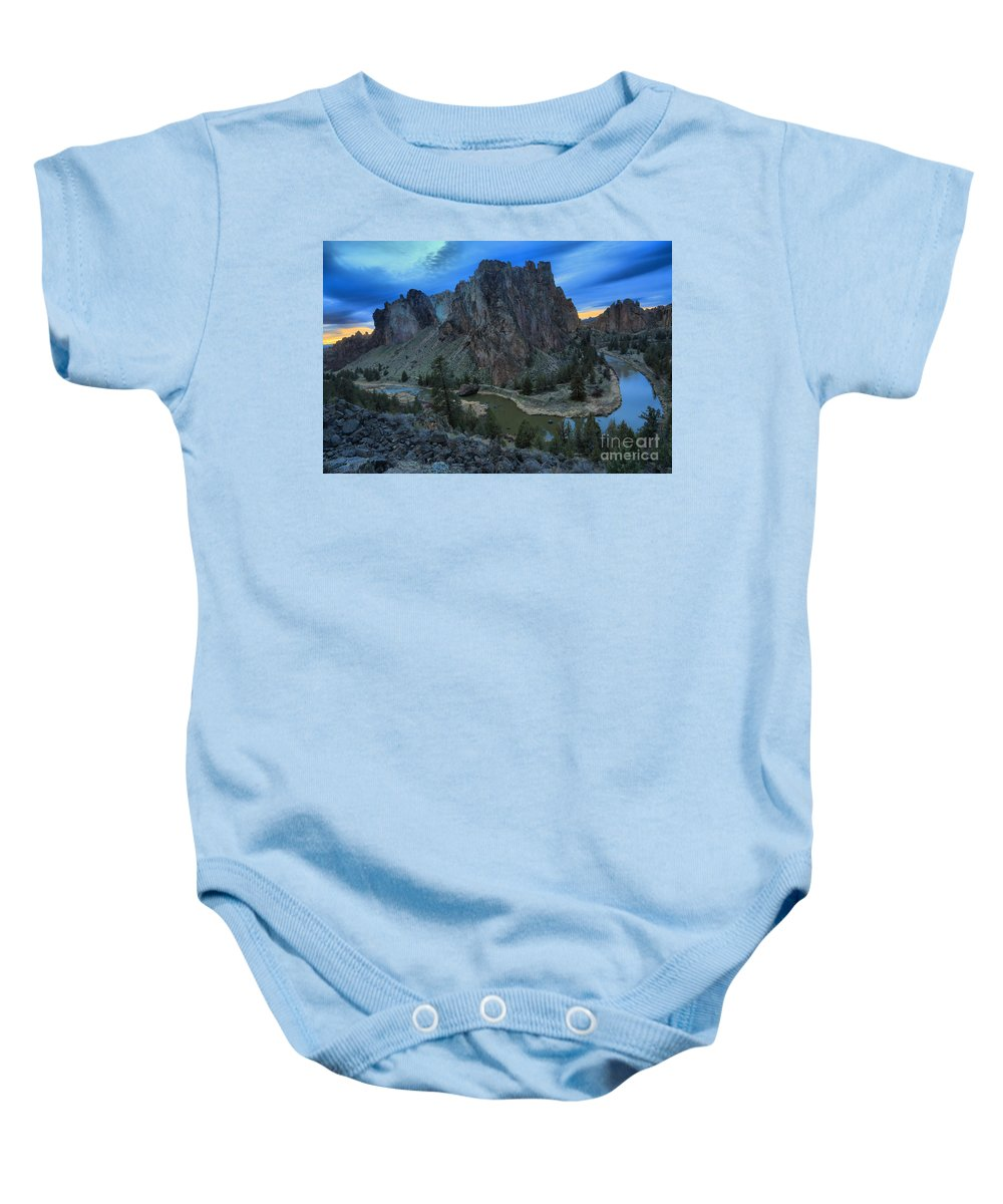 Smith Rock Baby Onesie featuring the photograph Sunset At Smith Rock by Adam Jewell