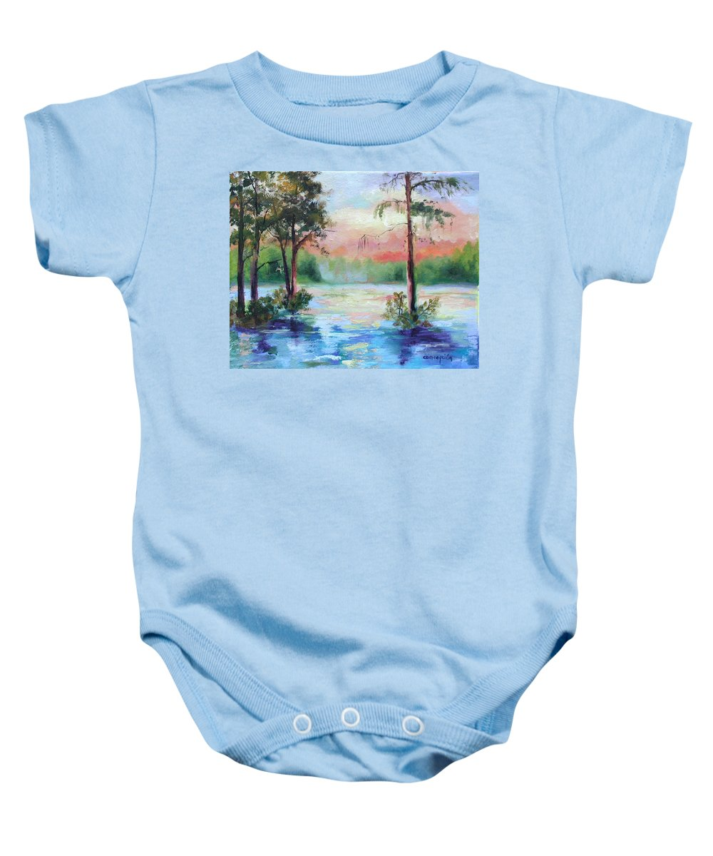 Sunset Baby Onesie featuring the painting Sunset Bayou by Ginger Concepcion