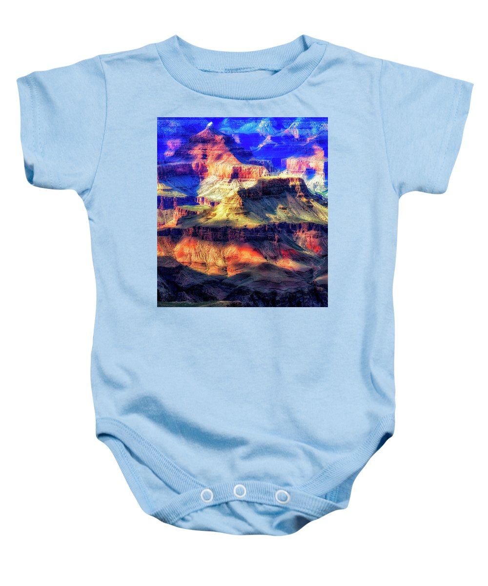 Arizona Baby Onesie featuring the digital art Sunset Glow At Mather Point by Leslie Ware