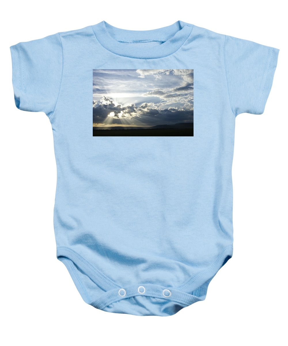 Africa Baby Onesie featuring the photograph Sunset On The Mara by Michele Burgess