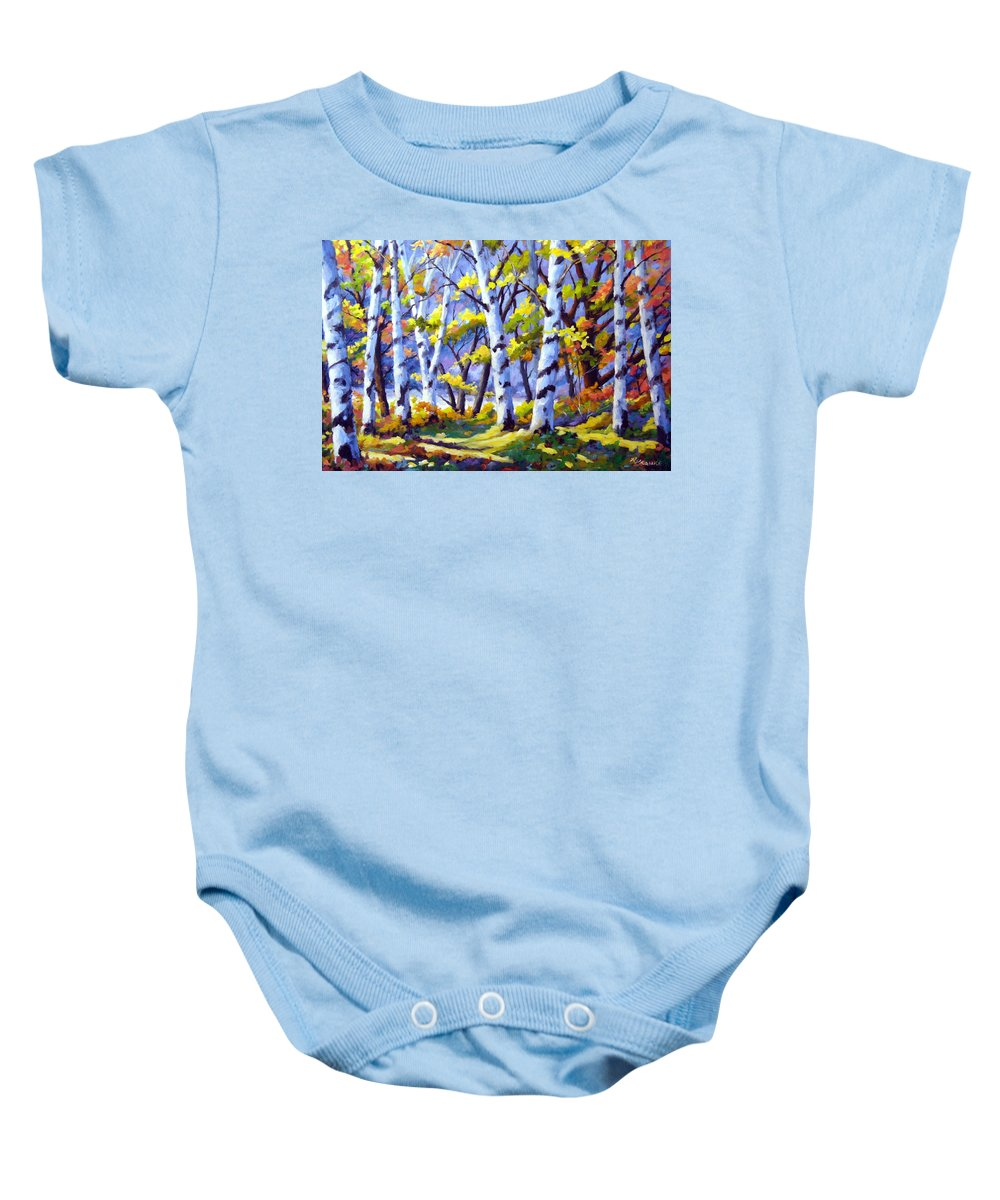 Art Baby Onesie featuring the painting Sunshine And Birches by Richard T Pranke