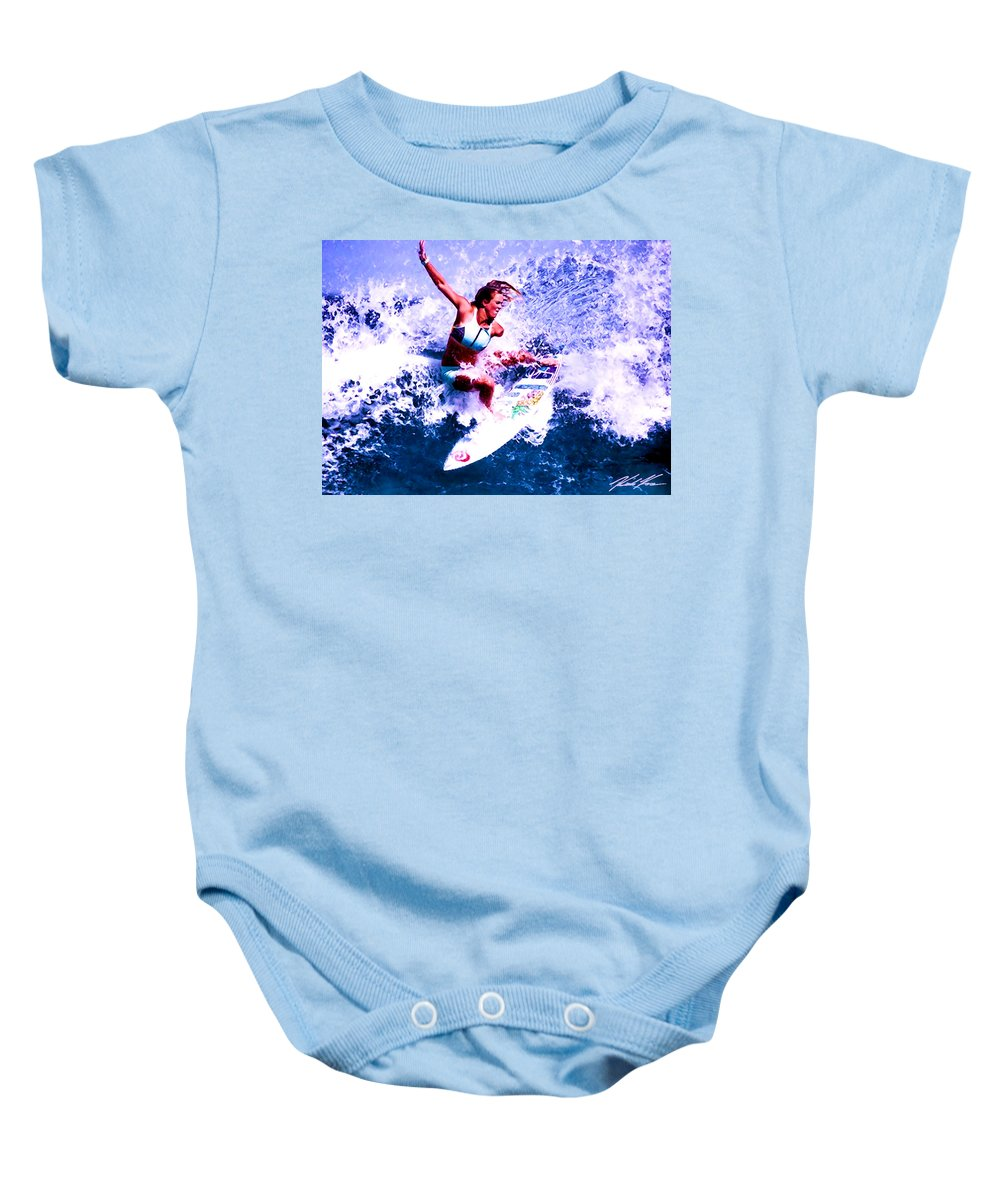 Surf Baby Onesie featuring the digital art Surfing Legends 6 by Keith Kos