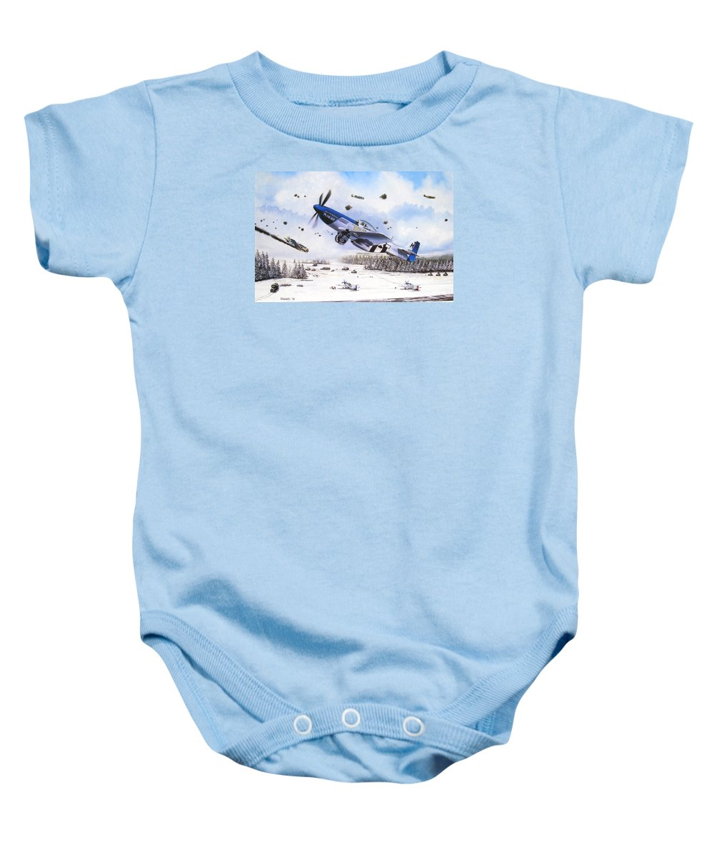 Aviation Baby Onesie featuring the painting Surprise At Asch by Marc Stewart