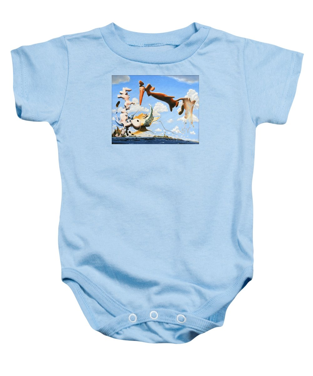 Surreal Baby Onesie featuring the painting Surreal Friends by Dave Martsolf