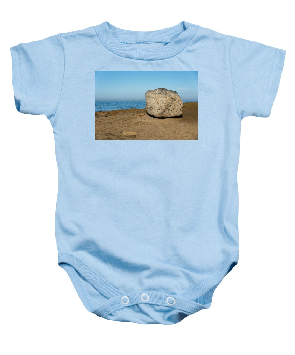 Surreal Rock Baby Onesie featuring the photograph Surreal Rock At Point Loma by Robert VanDerWal