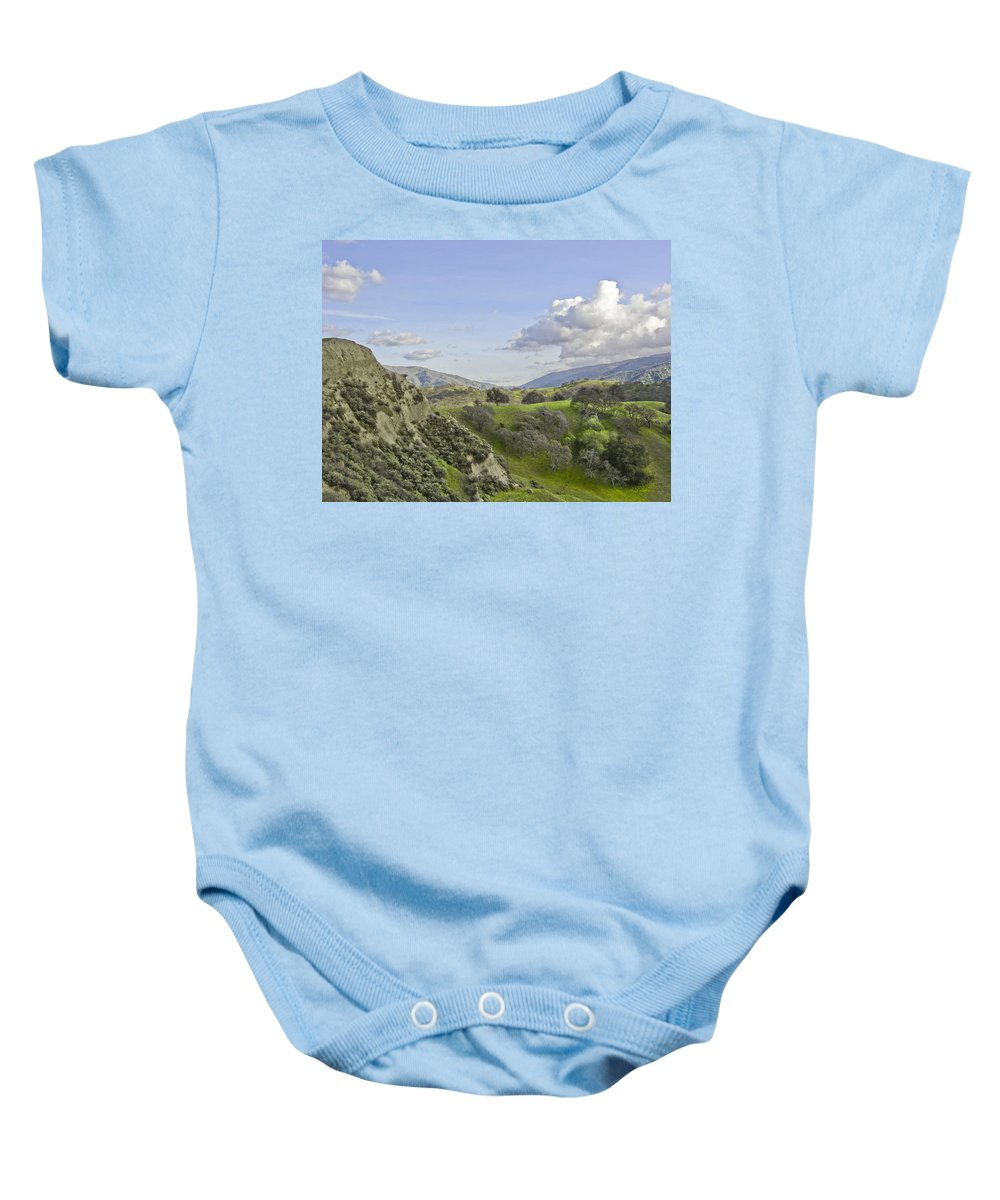Landscape Baby Onesie featuring the photograph Swallow Bay Cliffs by Karen W Meyer