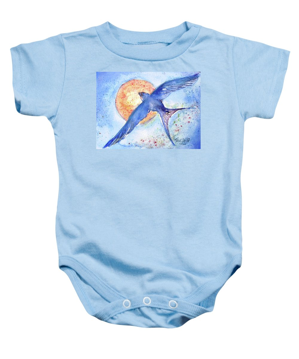 Swallows Baby Onesie featuring the painting Swallows Return by Trudi Doyle
