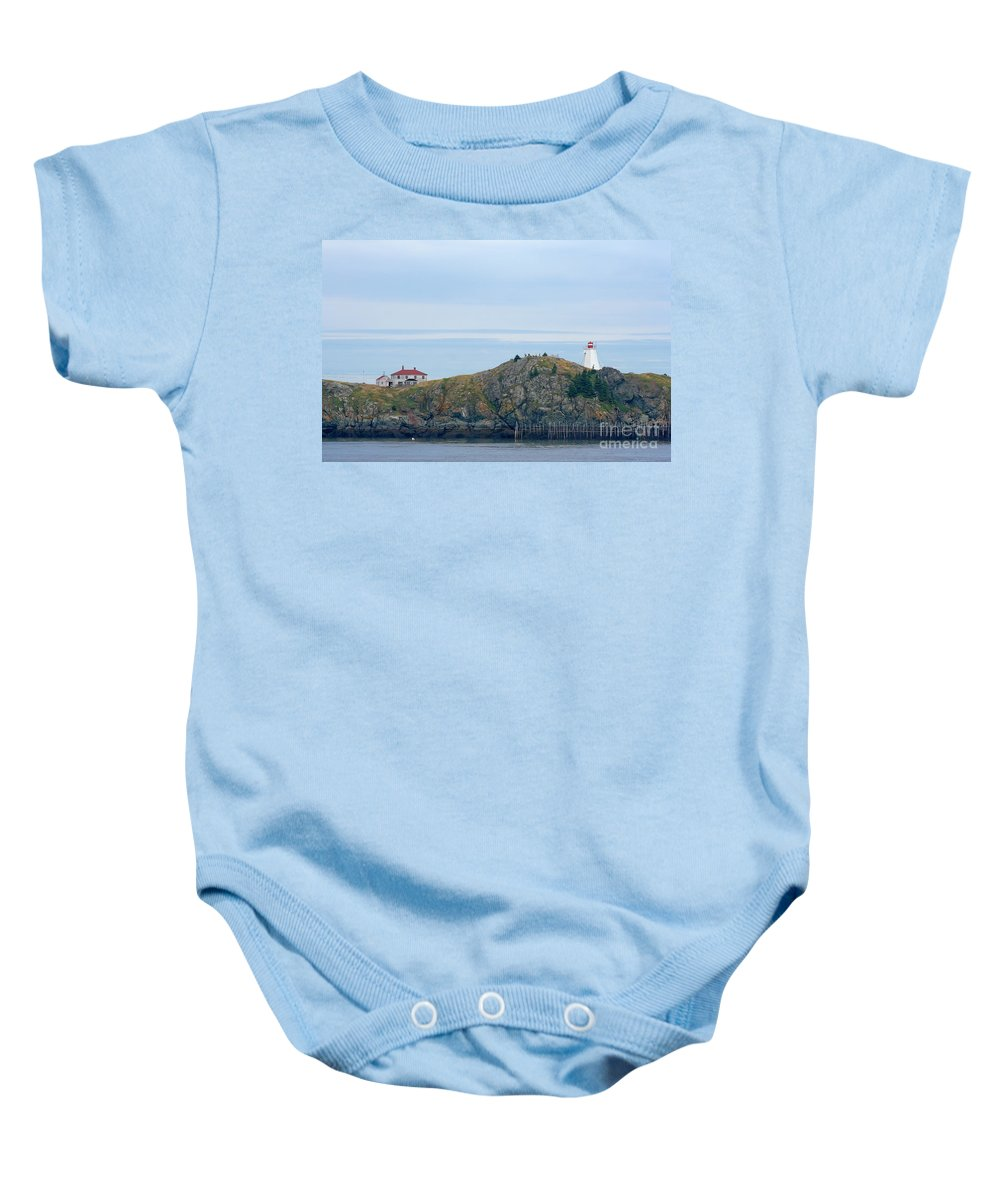 Lighthouse Baby Onesie featuring the photograph Swallowtail Lighthouse And Keeper by Thomas Marchessault
