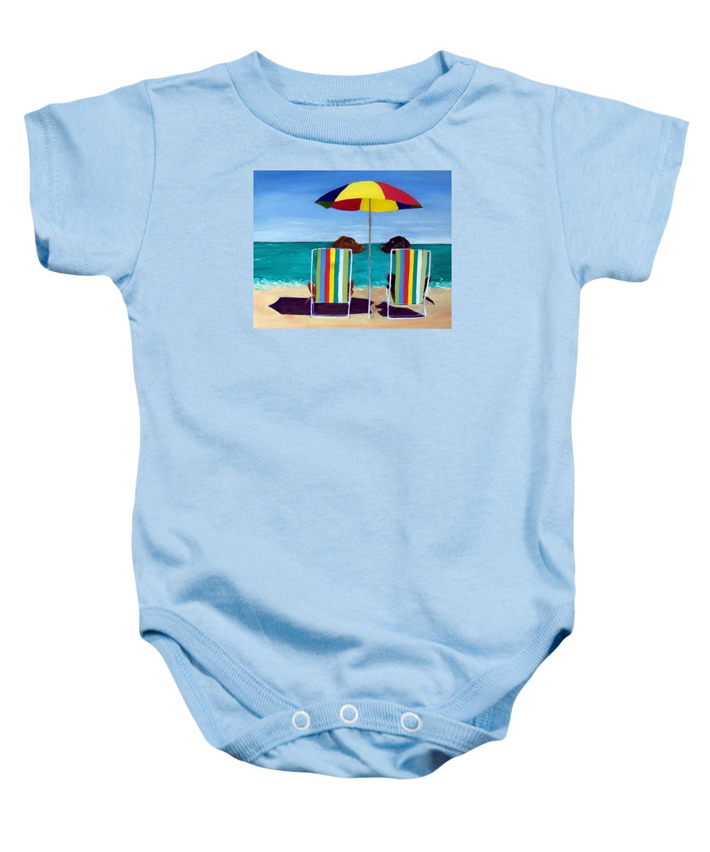 Labrador Retriever Baby Onesie featuring the painting Swim by Roger Wedegis