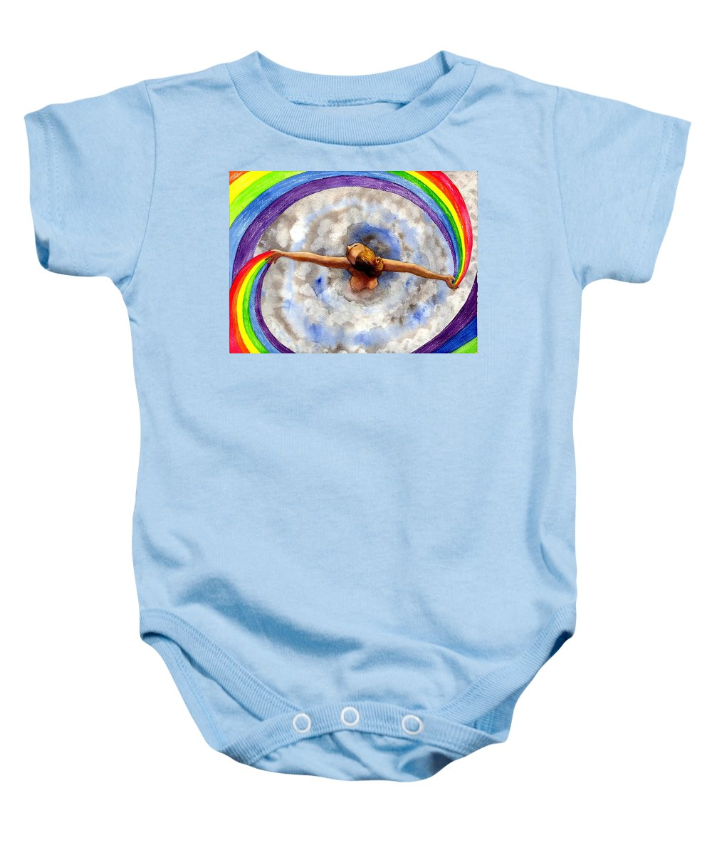 Rainbow Baby Onesie featuring the painting Swirl by Catherine G McElroy