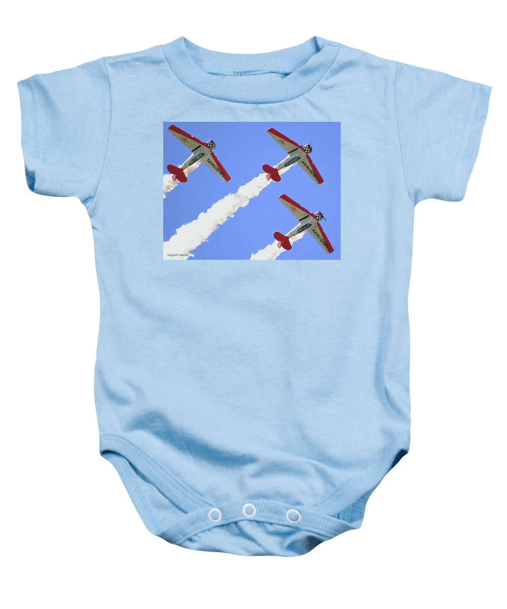 T6 Baby Onesie featuring the digital art T6 Aerobatics by DigiArt Diaries by Vicky B Fuller