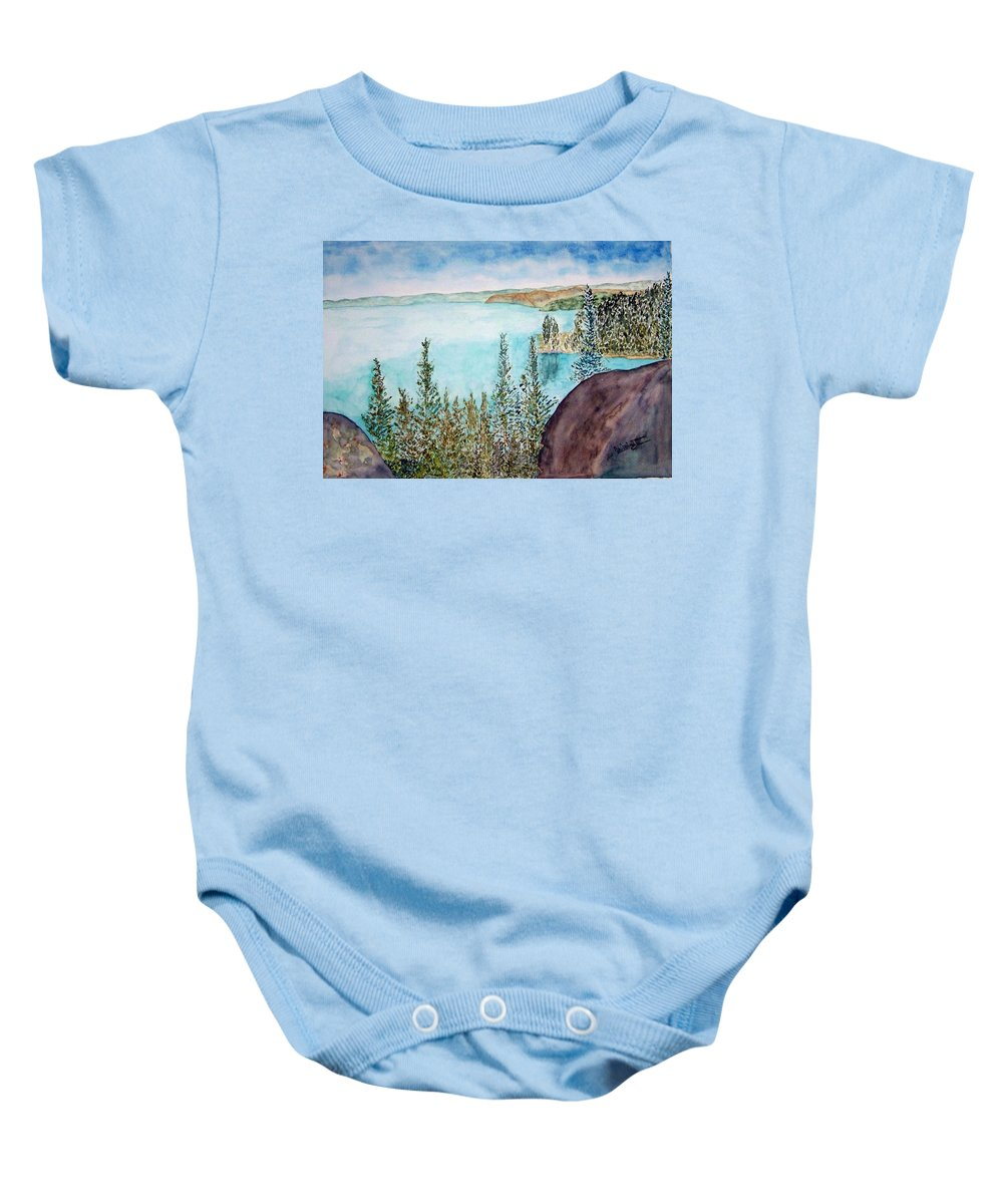 Tahoe Baby Onesie featuring the painting Tahoe Remembered by Larry Wright