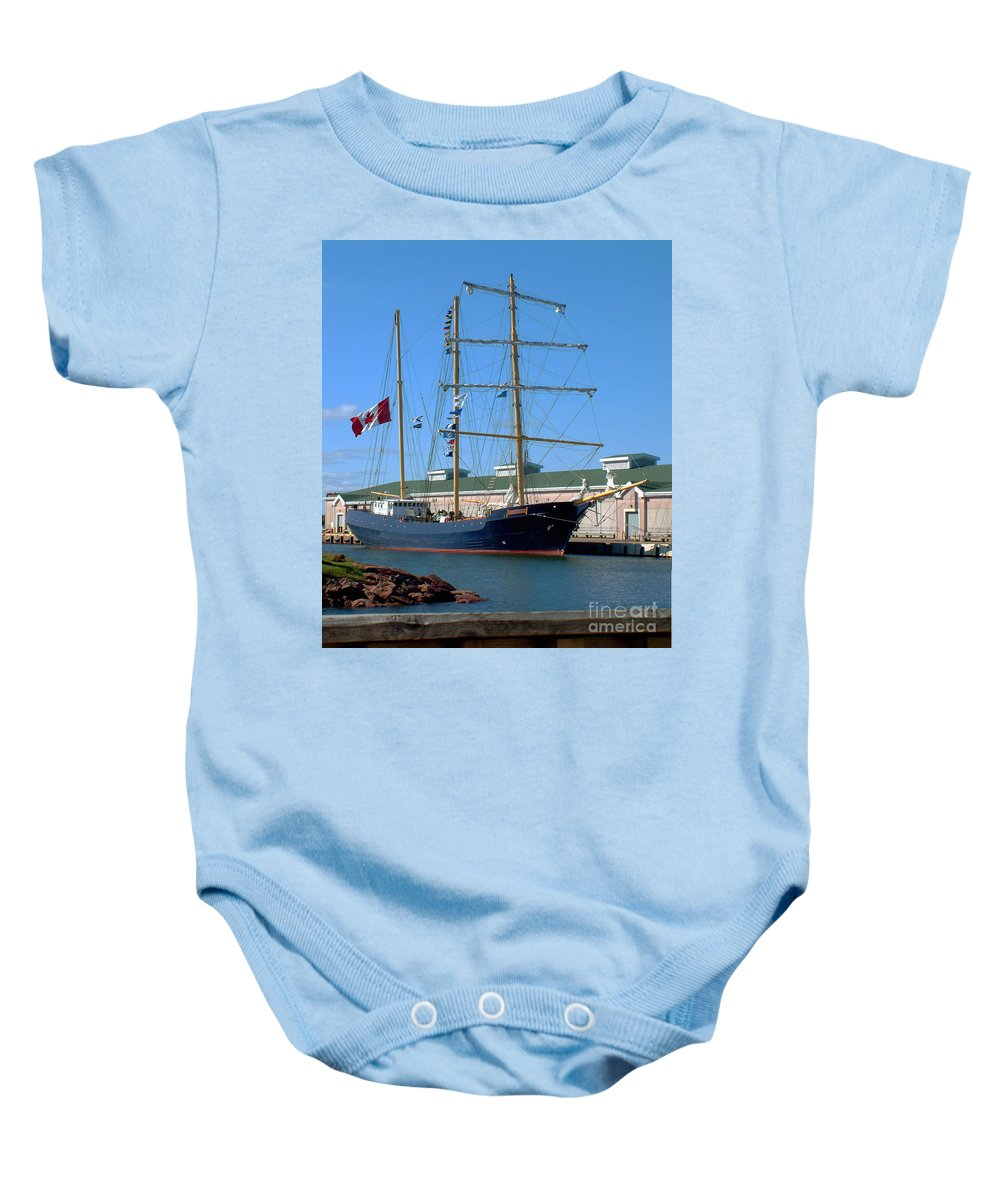 Dock Baby Onesie featuring the photograph Tall Ship Waiting by RC DeWinter
