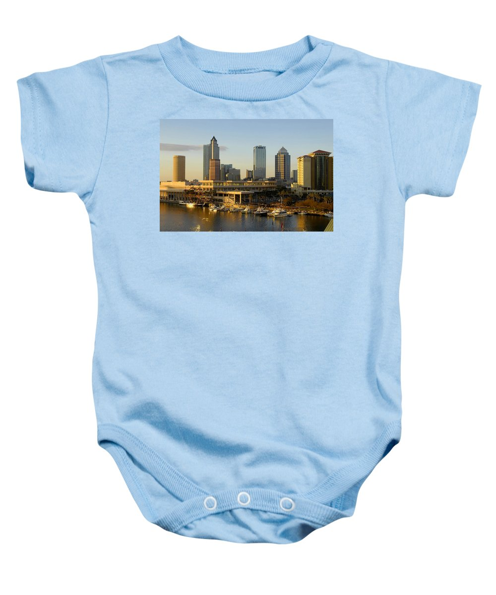 Tampa Bay Florida Baby Onesie featuring the photograph Tampa Bay And Gasparilla by David Lee Thompson