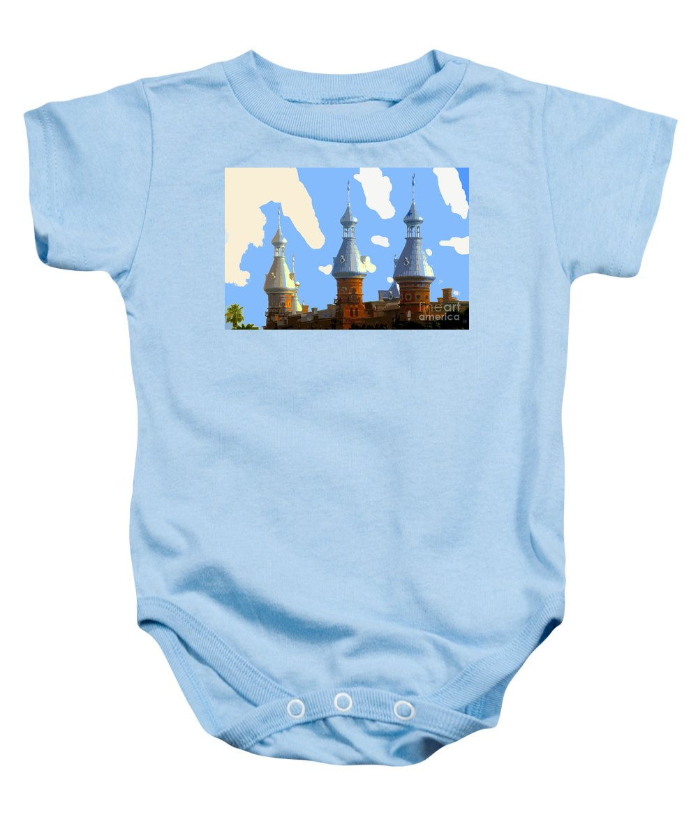 Tampa Florida Baby Onesie featuring the painting Tampa's Minarets by David Lee Thompson
