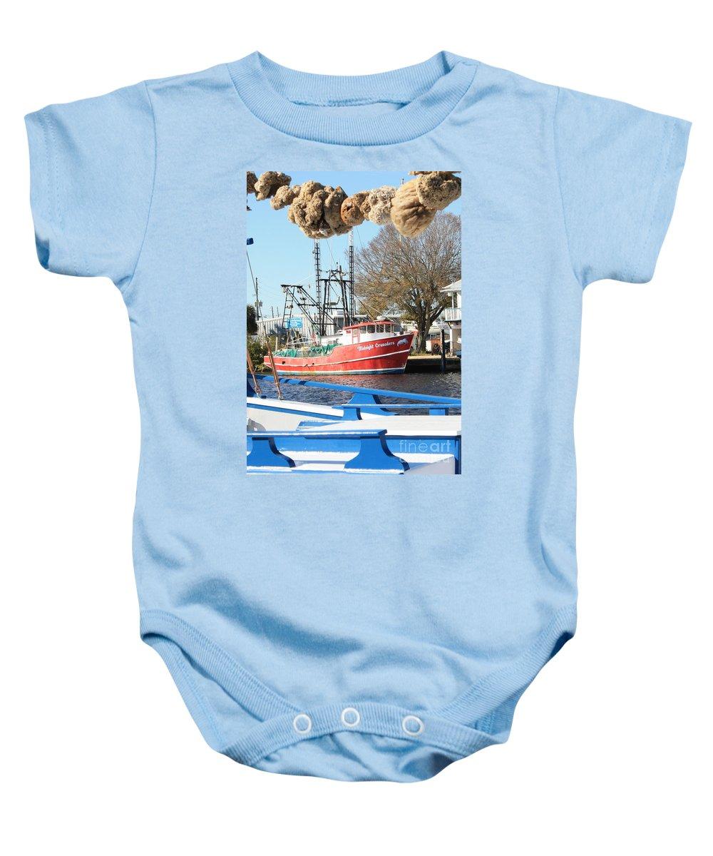 Tarpon Springs Baby Onesie featuring the photograph Tarpon Springs Shrimp Boat by Carol Groenen