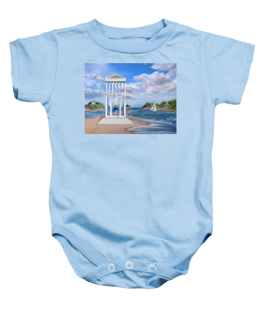 Landscape Baby Onesie featuring the painting Temple For No One by Steve Karol