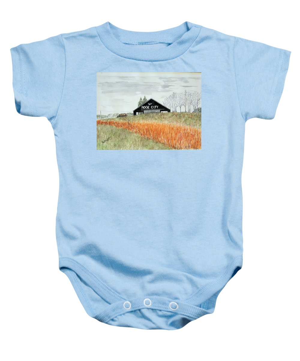 Barns Baby Onesie featuring the painting Tennessee Destination by Larry Wright