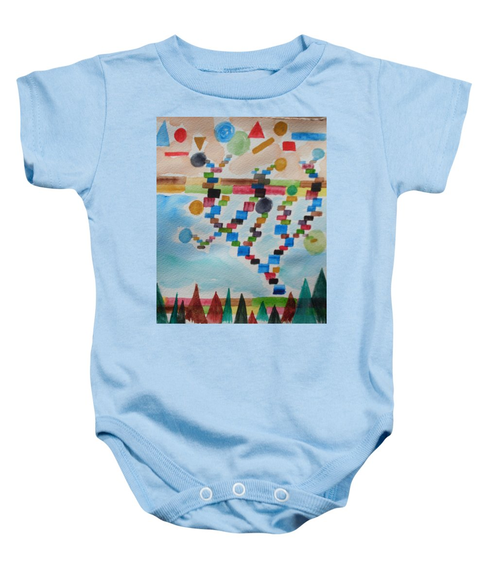 Abstract Baby Onesie featuring the painting Tetrus Meets Nature by Warren Thompson