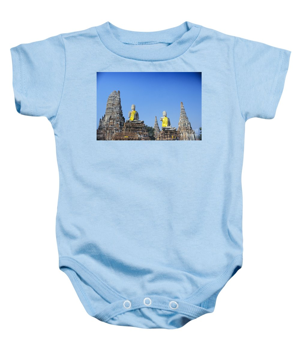 Ancient Baby Onesie featuring the photograph Thailand, Ayathaya by Gloria & Richard Maschmeyer - Printscapes