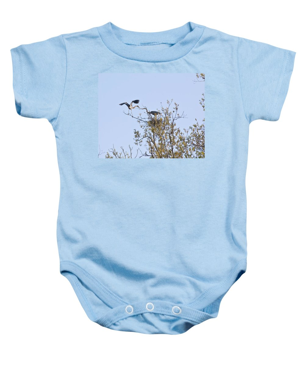 Herron Baby Onesie featuring the photograph Thanks Dear by Gary Adkins