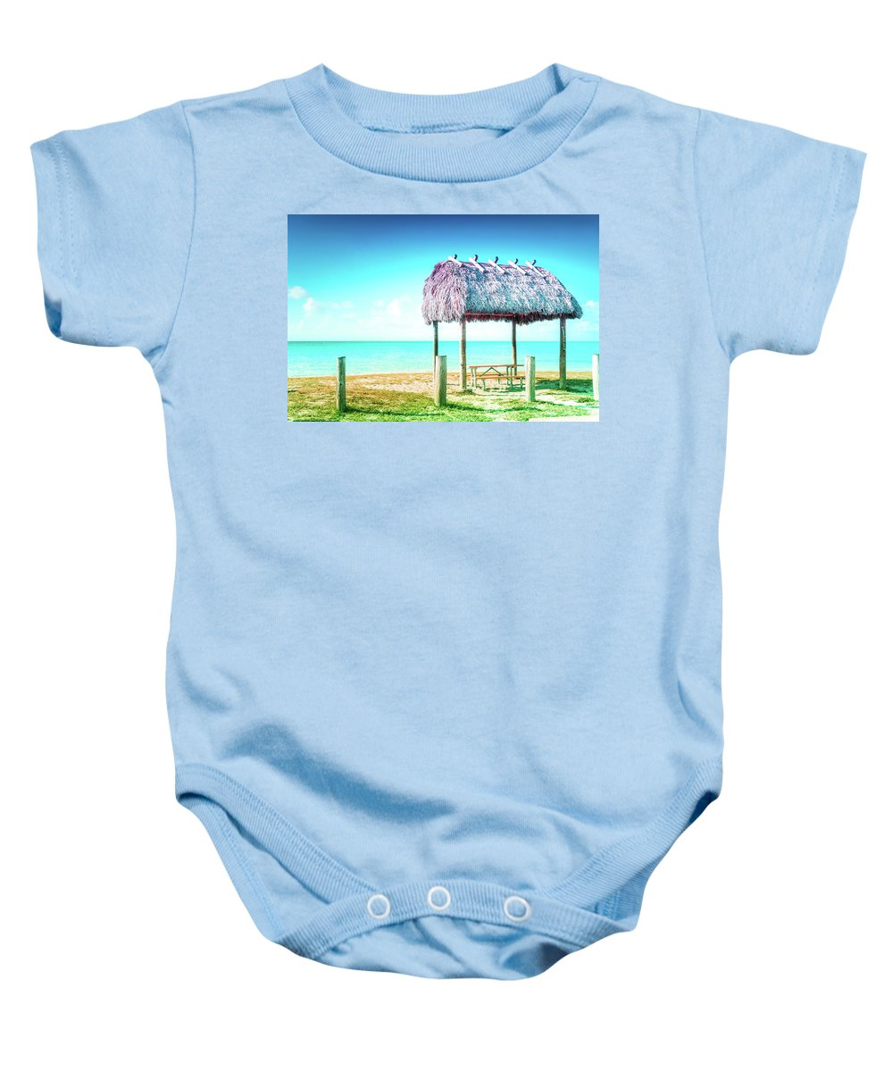 Key West Baby Onesie featuring the photograph Thatched Roof Hut On Beach by Art Spectrum