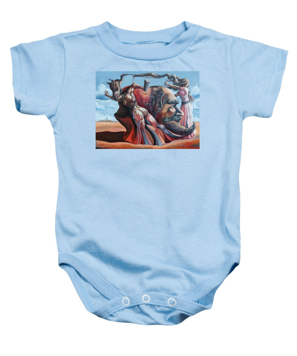 Surrealism Baby Onesie featuring the painting The Adam-eve Delusion by Darwin Leon